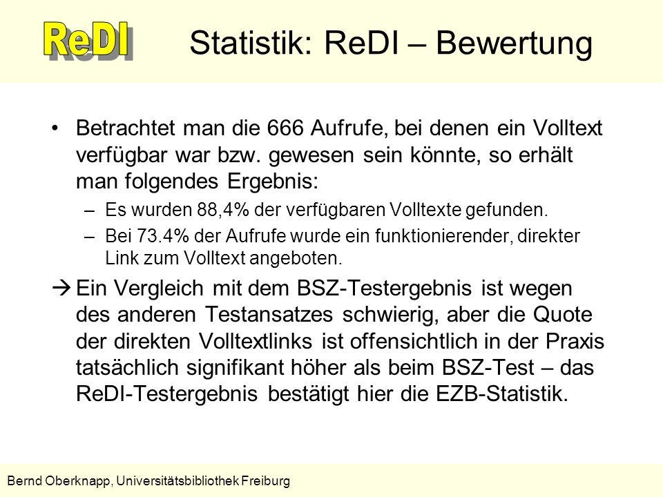 10 Bernd Oberknapp, Universitätsbibliothek Freiburg Statistik: ReDI – Bewertung Betrachtet man die 666 Aufrufe, bei denen ein Volltext verfügbar war b