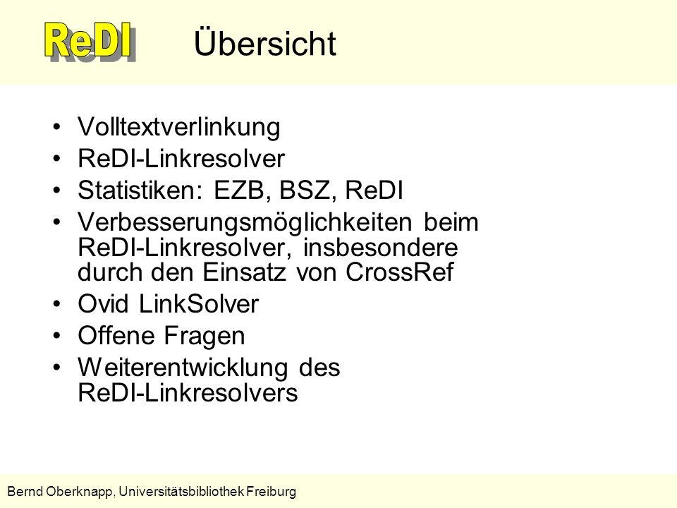 13 Bernd Oberknapp, Universitätsbibliothek Freiburg Verbesserungen durch den Einsatz von CrossRef CrossRef ermöglicht teilweise –die Ergänzung fehlender Metadaten und –die Korrektur falscher Metadaten, wodurch sich die Fehlerquote reduzieren lässt.