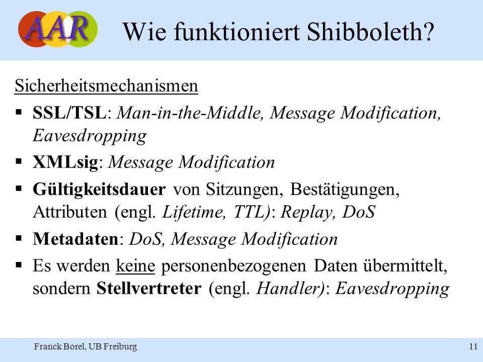 Franck Borel, UB Freiburg 11 Wie funktioniert Shibboleth.