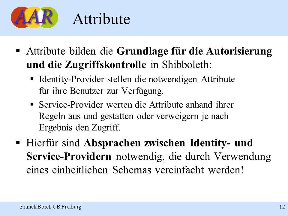 Franck Borel, UB Freiburg 12 Attribute Attribute bilden die Grundlage für die Autorisierung und die Zugriffskontrolle in Shibboleth: Identity-Provider stellen die notwendigen Attribute für ihre Benutzer zur Verfügung.