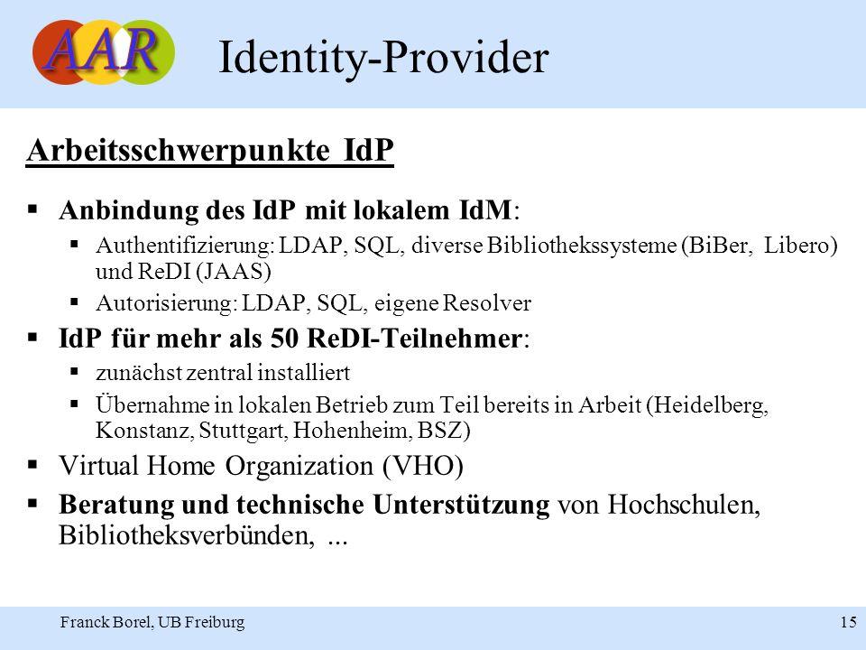 Franck Borel, UB Freiburg 15 Identity-Provider Arbeitsschwerpunkte IdP Anbindung des IdP mit lokalem IdM: Authentifizierung: LDAP, SQL, diverse Bibliothekssysteme (BiBer, Libero) und ReDI (JAAS) Autorisierung: LDAP, SQL, eigene Resolver IdP für mehr als 50 ReDI-Teilnehmer: zunächst zentral installiert Übernahme in lokalen Betrieb zum Teil bereits in Arbeit (Heidelberg, Konstanz, Stuttgart, Hohenheim, BSZ) Virtual Home Organization (VHO) Beratung und technische Unterstützung von Hochschulen, Bibliotheksverbünden,...