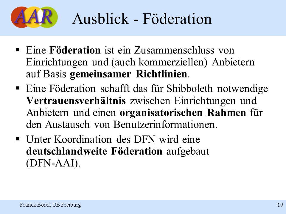 Franck Borel, UB Freiburg 19 Ausblick - Föderation Eine Föderation ist ein Zusammenschluss von Einrichtungen und (auch kommerziellen) Anbietern auf Basis gemeinsamer Richtlinien.