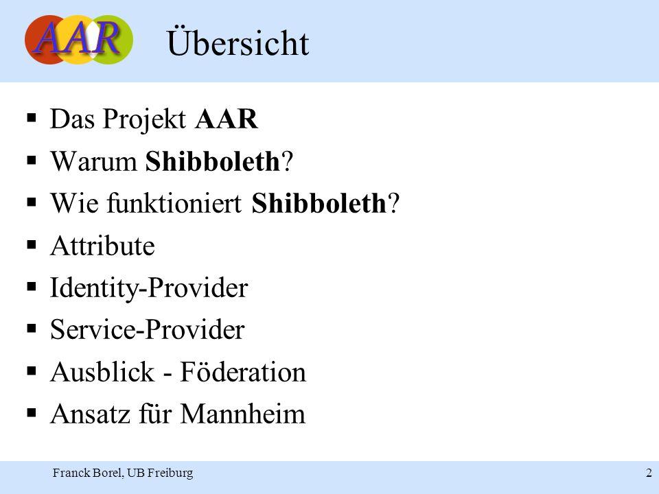 Franck Borel, UB Freiburg 2 Übersicht Das Projekt AAR Warum Shibboleth.