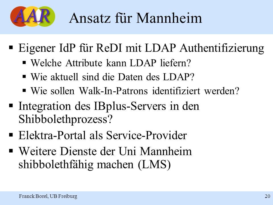 Franck Borel, UB Freiburg 20 Ansatz für Mannheim Eigener IdP für ReDI mit LDAP Authentifizierung Welche Attribute kann LDAP liefern.
