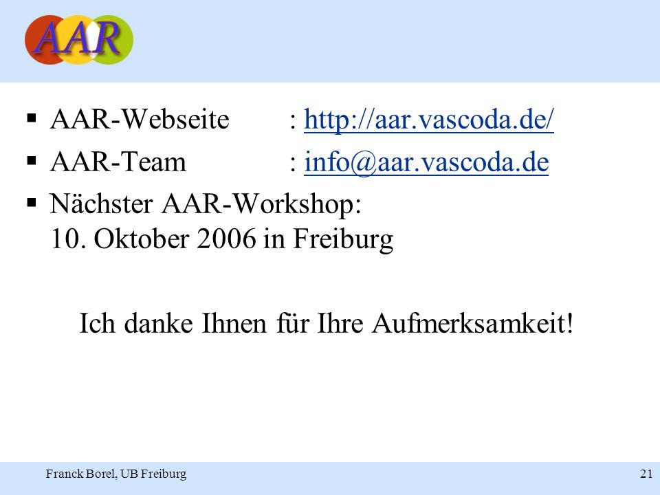 Franck Borel, UB Freiburg 21 AAR-Webseite: http://aar.vascoda.de/http://aar.vascoda.de/ AAR-Team: info@aar.vascoda.deinfo@aar.vascoda.de Nächster AAR-Workshop: 10.