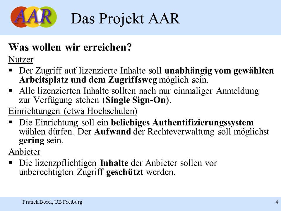 Franck Borel, UB Freiburg 4 Das Projekt AAR Was wollen wir erreichen.