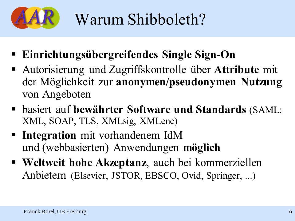 Franck Borel, UB Freiburg 6 Warum Shibboleth.