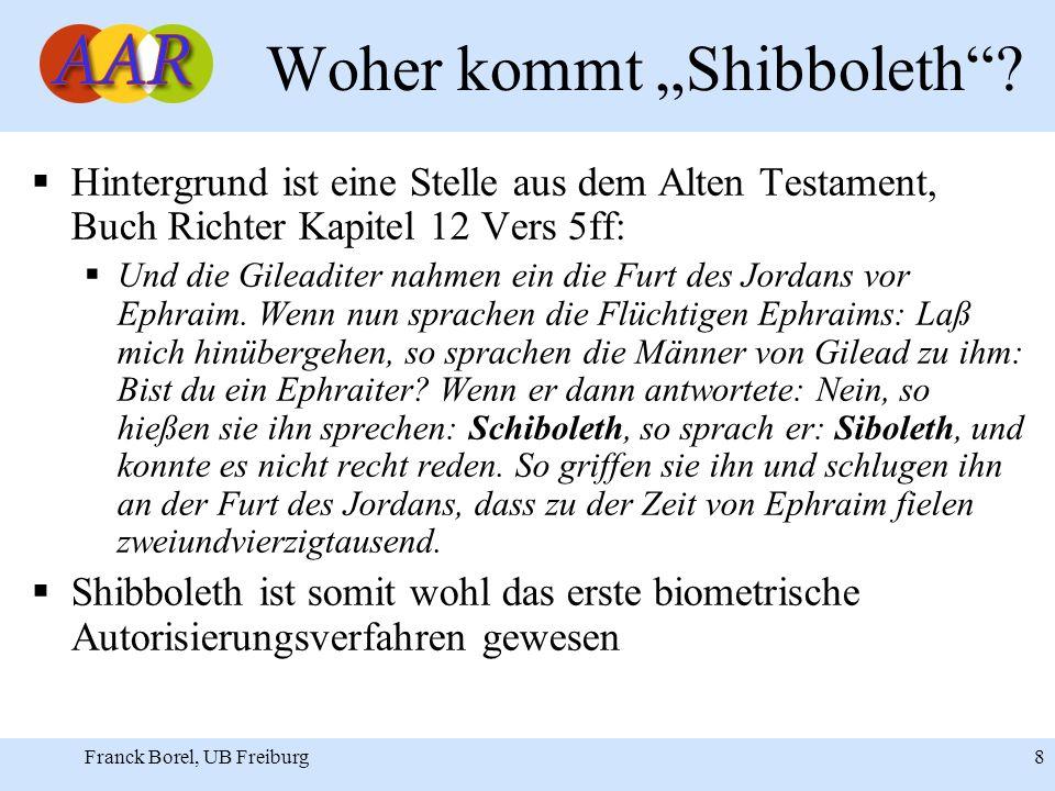 Franck Borel, UB Freiburg 8 Woher kommt Shibboleth.