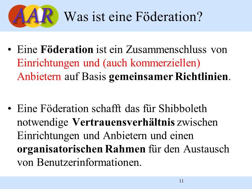 11 Eine Föderation ist ein Zusammenschluss von Einrichtungen und (auch kommerziellen) Anbietern auf Basis gemeinsamer Richtlinien. Eine Föderation sch