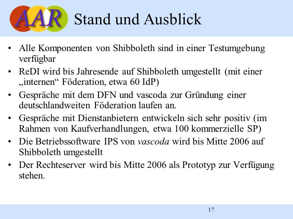 17 Stand und Ausblick Alle Komponenten von Shibboleth sind in einer Testumgebung verfügbar ReDI wird bis Jahresende auf Shibboleth umgestellt (mit ein