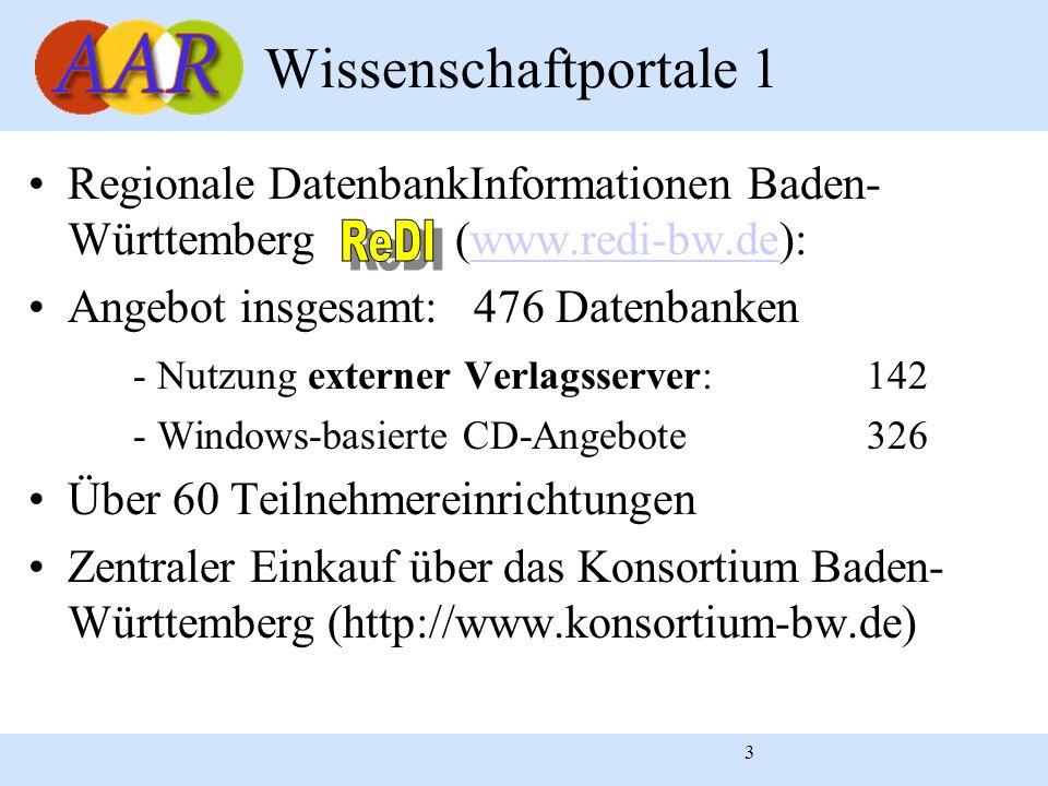 3 Wissenschaftportale 1 Regionale DatenbankInformationen Baden- Württemberg (www.redi-bw.de):www.redi-bw.de Angebot insgesamt: 476 Datenbanken - Nutzu