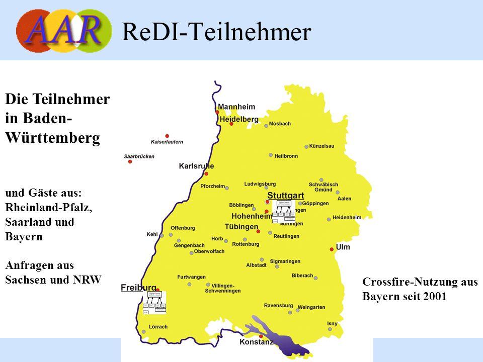4 ReDI-Teilnehmer Die Teilnehmer in Baden- Württemberg und Gäste aus: Rheinland-Pfalz, Saarland und Bayern Anfragen aus Sachsen und NRW Crossfire-Nutz