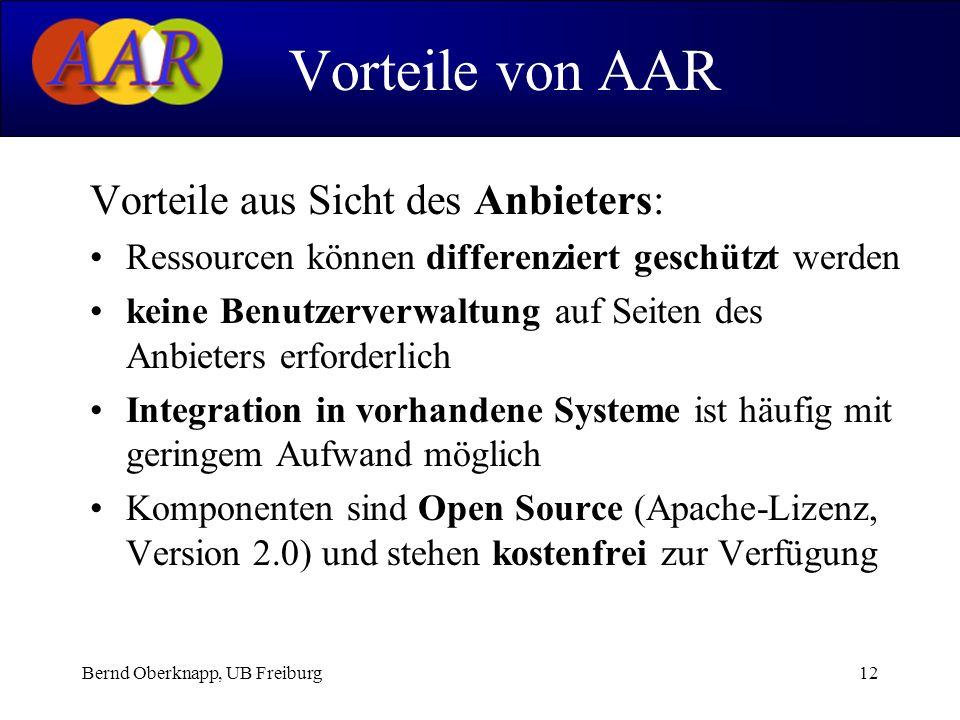 Bernd Oberknapp, UB Freiburg12 Vorteile aus Sicht des Anbieters: Ressourcen können differenziert geschützt werden keine Benutzerverwaltung auf Seiten