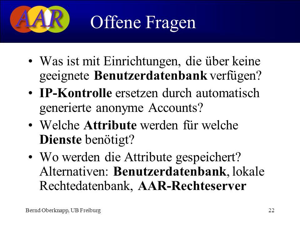 Bernd Oberknapp, UB Freiburg22 Was ist mit Einrichtungen, die über keine geeignete Benutzerdatenbank verfügen? IP-Kontrolle ersetzen durch automatisch