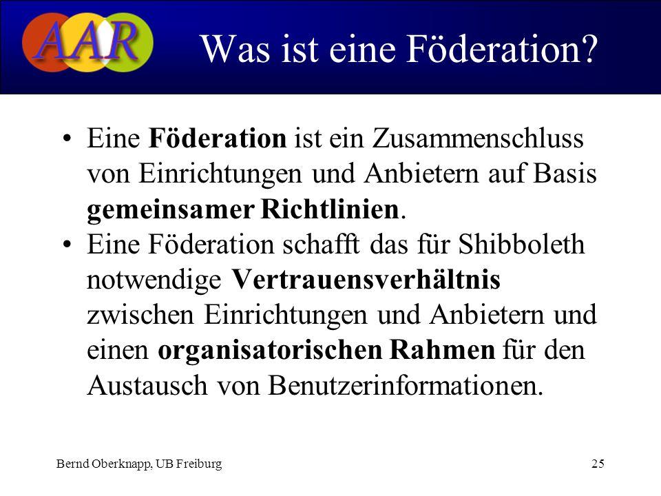 Bernd Oberknapp, UB Freiburg25 Eine Föderation ist ein Zusammenschluss von Einrichtungen und Anbietern auf Basis gemeinsamer Richtlinien. Eine Föderat