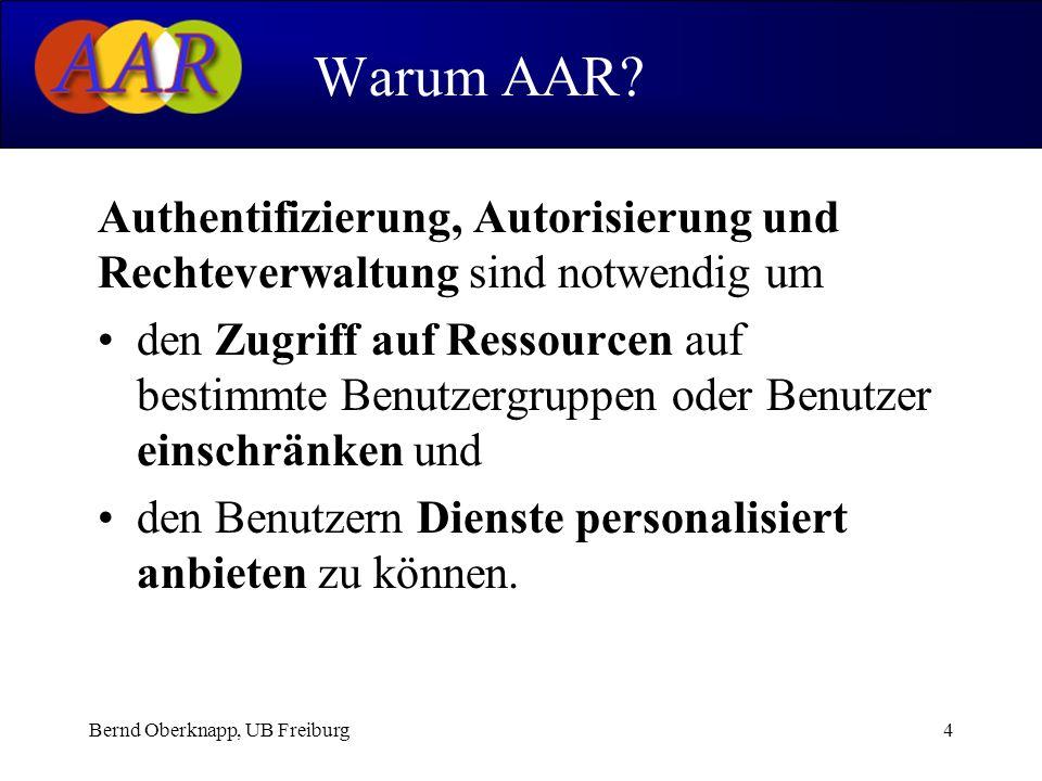 Bernd Oberknapp, UB Freiburg4 Authentifizierung, Autorisierung und Rechteverwaltung sind notwendig um den Zugriff auf Ressourcen auf bestimmte Benutzergruppen oder Benutzer einschränken und den Benutzern Dienste personalisiert anbieten zu können.