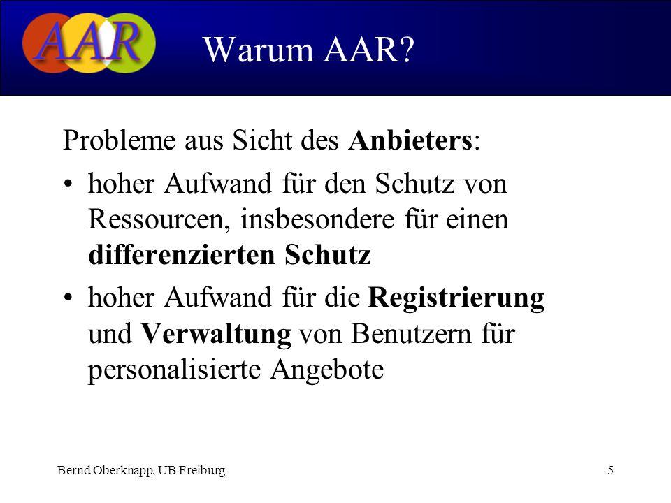 Bernd Oberknapp, UB Freiburg5 Probleme aus Sicht des Anbieters: hoher Aufwand für den Schutz von Ressourcen, insbesondere für einen differenzierten Sc