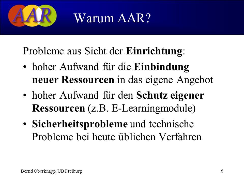 Bernd Oberknapp, UB Freiburg17 ReDI als Pilotanwendung Aktuelle ReDI-Authentifizierung......