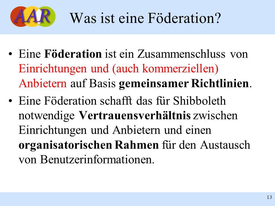 13 Eine Föderation ist ein Zusammenschluss von Einrichtungen und (auch kommerziellen) Anbietern auf Basis gemeinsamer Richtlinien. Eine Föderation sch