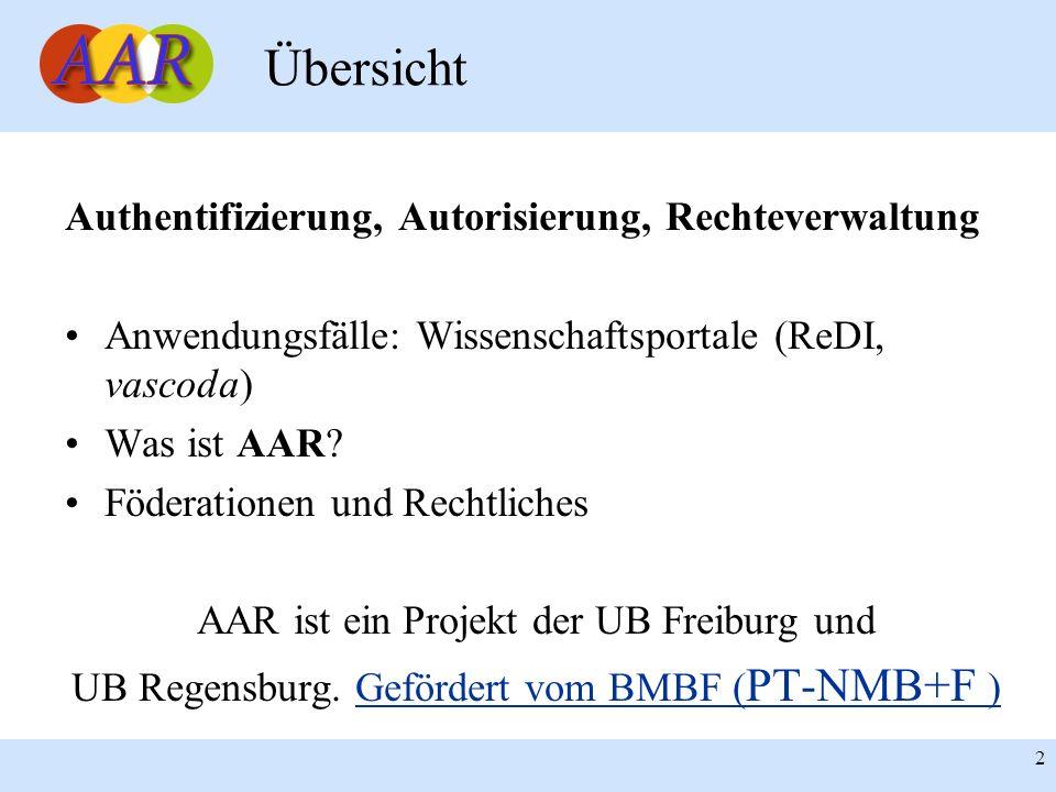 2 Authentifizierung, Autorisierung, Rechteverwaltung Anwendungsfälle: Wissenschaftsportale (ReDI, vascoda) Was ist AAR? Föderationen und Rechtliches A