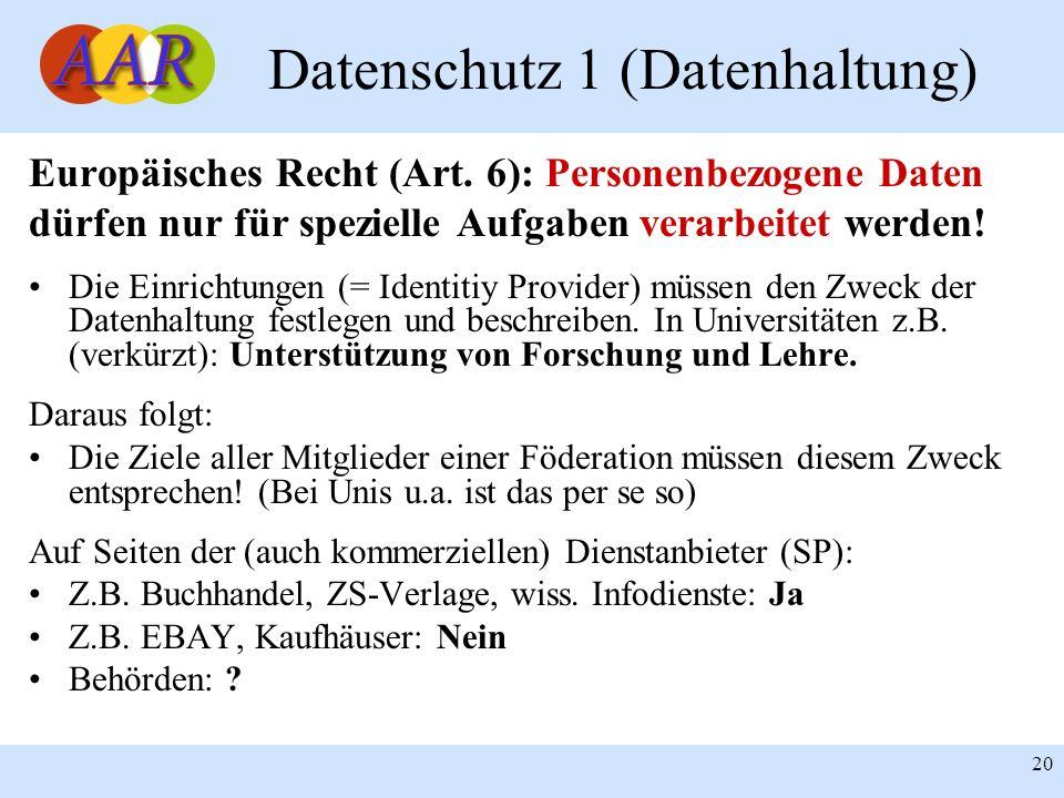 20 Datenschutz 1 (Datenhaltung) Europäisches Recht (Art. 6): Personenbezogene Daten dürfen nur für spezielle Aufgaben verarbeitet werden! Die Einricht