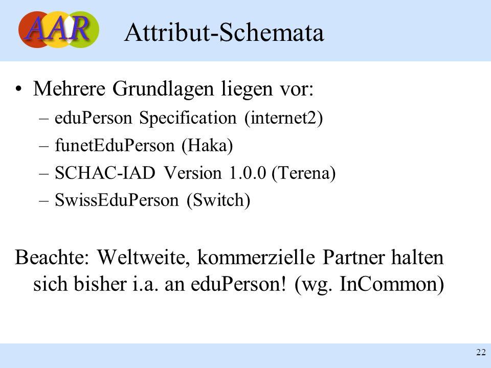 22 Attribut-Schemata Mehrere Grundlagen liegen vor: –eduPerson Specification (internet2) –funetEduPerson (Haka) –SCHAC-IAD Version 1.0.0 (Terena) –Swi