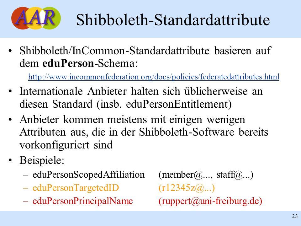 23 Shibboleth-Standardattribute Shibboleth/InCommon-Standardattribute basieren auf dem eduPerson-Schema: http://www.incommonfederation.org/docs/polici