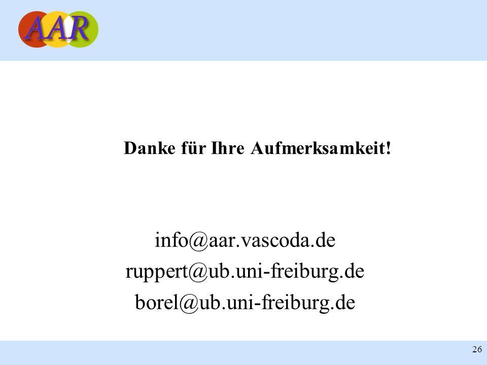 26 Danke für Ihre Aufmerksamkeit! info@aar.vascoda.de ruppert@ub.uni-freiburg.de borel@ub.uni-freiburg.de