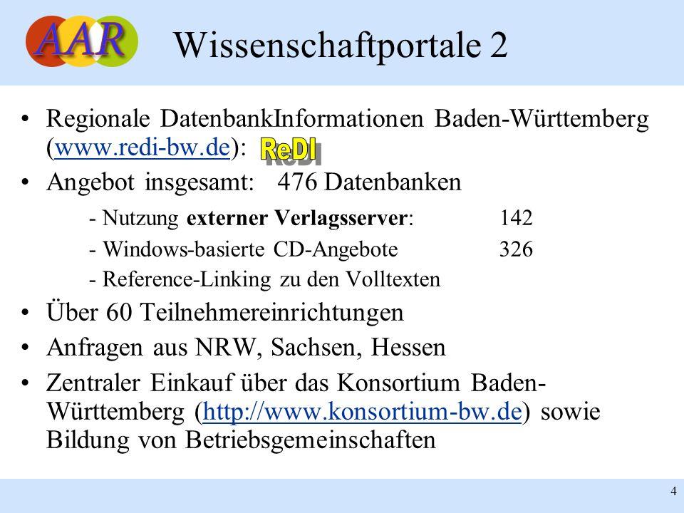 4 Wissenschaftportale 2 Regionale DatenbankInformationen Baden-Württemberg (www.redi-bw.de):www.redi-bw.de Angebot insgesamt: 476 Datenbanken - Nutzun