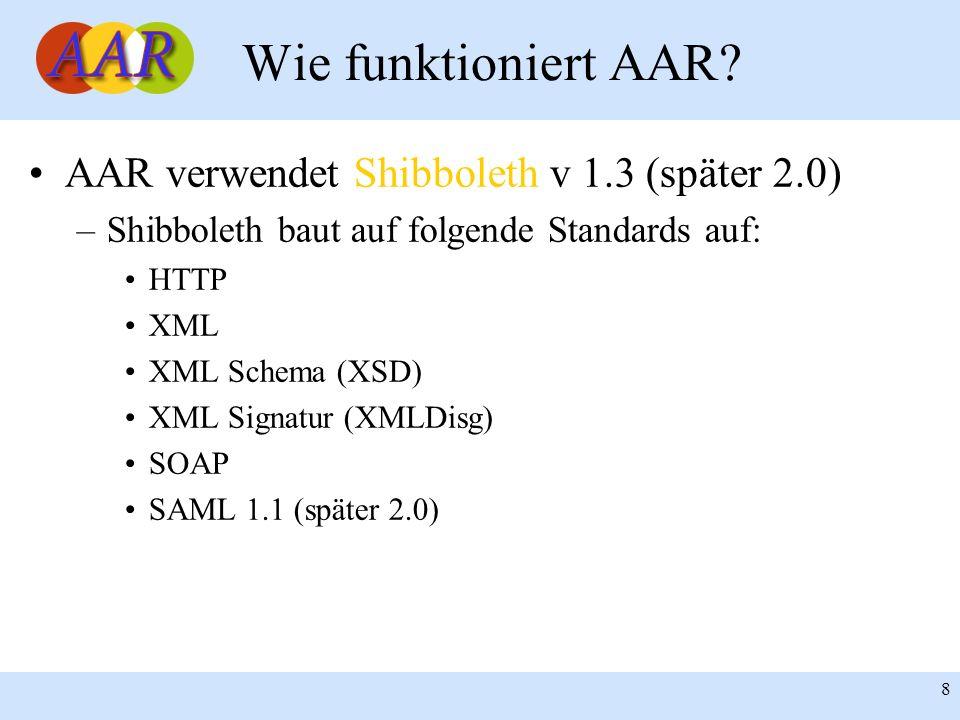 8 Wie funktioniert AAR? AAR verwendet Shibboleth v 1.3 (später 2.0) –Shibboleth baut auf folgende Standards auf: HTTP XML XML Schema (XSD) XML Signatu