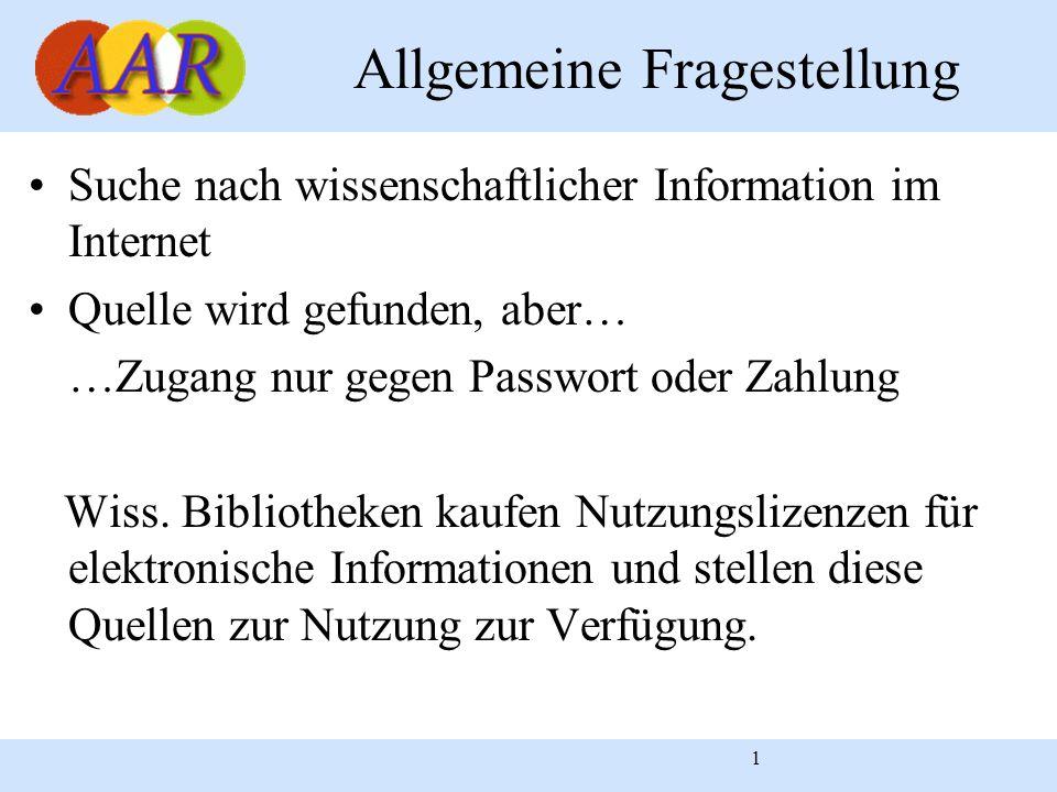 1 Allgemeine Fragestellung Suche nach wissenschaftlicher Information im Internet Quelle wird gefunden, aber… …Zugang nur gegen Passwort oder Zahlung Wiss.