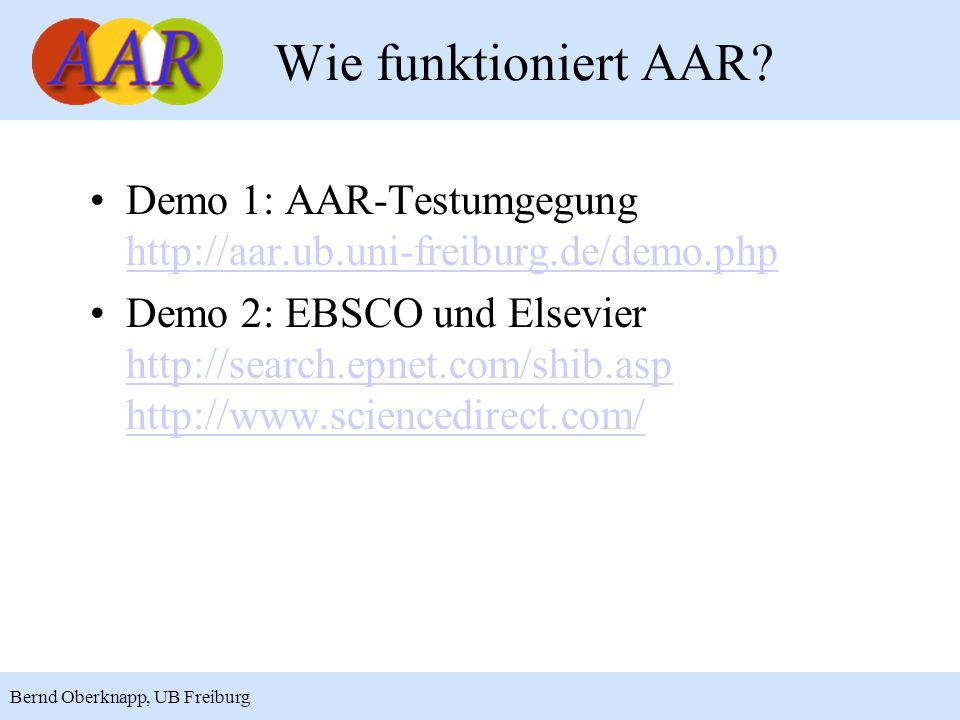 14 Bernd Oberknapp, UB Freiburg Demo 1: AAR-Testumgegung http://aar.ub.uni-freiburg.de/demo.php http://aar.ub.uni-freiburg.de/demo.php Demo 2: EBSCO u