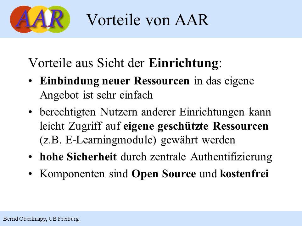 16 Bernd Oberknapp, UB Freiburg Vorteile aus Sicht der Einrichtung: Einbindung neuer Ressourcen in das eigene Angebot ist sehr einfach berechtigten Nu