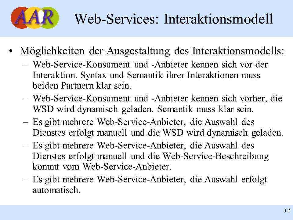 Franck Borel - UB-Freiburg 12 Web-Services: Interaktionsmodell Möglichkeiten der Ausgestaltung des Interaktionsmodells: –Web-Service-Konsument und -An