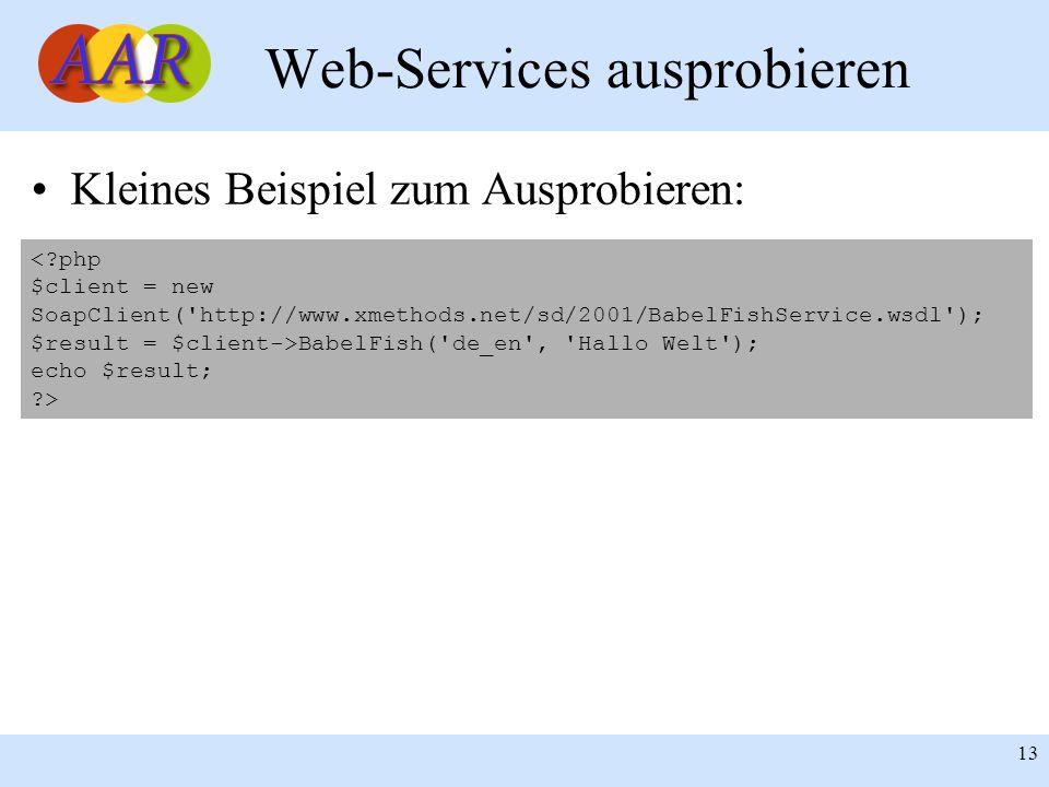Franck Borel - UB-Freiburg 13 Web-Services ausprobieren Kleines Beispiel zum Ausprobieren: <?php $client = new SoapClient('http://www.xmethods.net/sd/