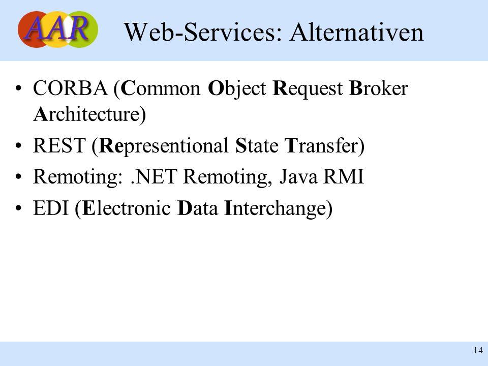 Franck Borel - UB-Freiburg 14 Web-Services: Alternativen CORBA (Common Object Request Broker Architecture) REST (Representional State Transfer) Remoting:.NET Remoting, Java RMI EDI (Electronic Data Interchange)
