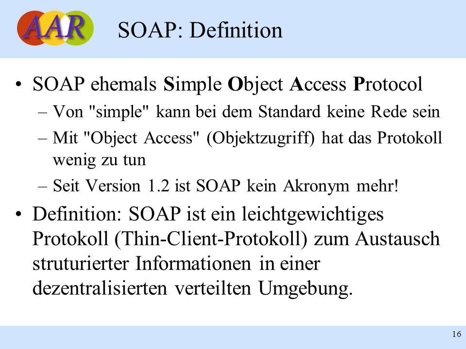 Franck Borel - UB-Freiburg 16 SOAP: Definition SOAP ehemals Simple Object Access Protocol –Von