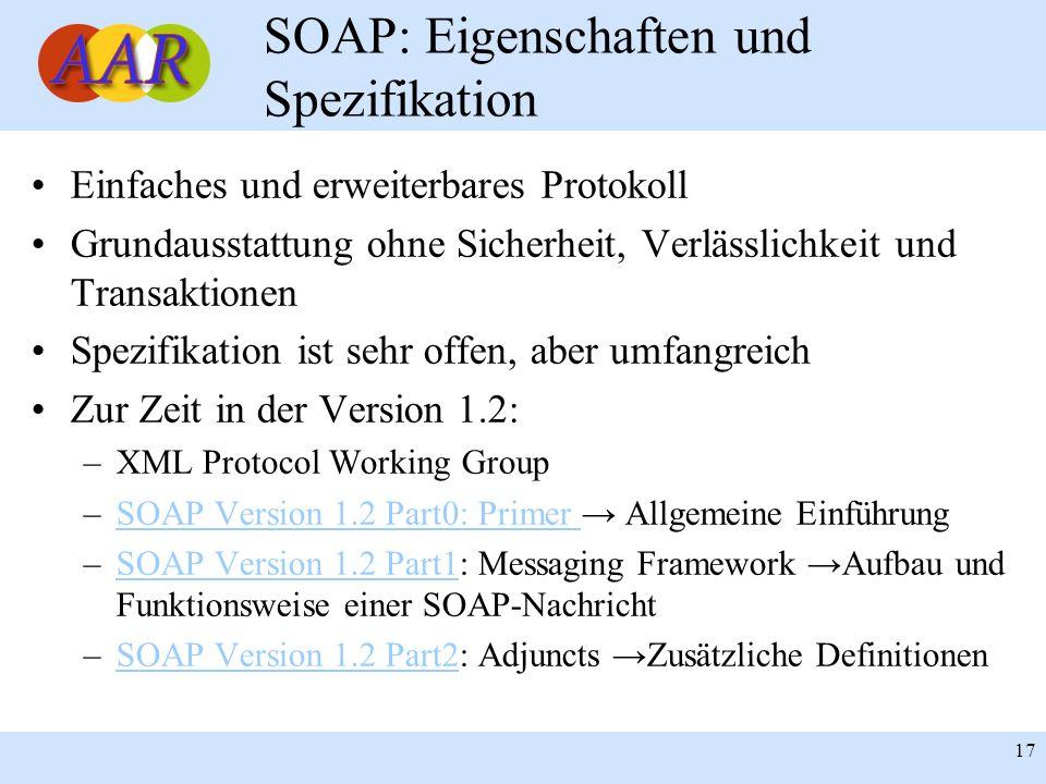 Franck Borel - UB-Freiburg 17 SOAP: Eigenschaften und Spezifikation Einfaches und erweiterbares Protokoll Grundausstattung ohne Sicherheit, Verlässlic