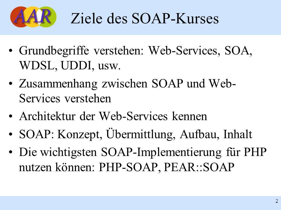 Franck Borel - UB-Freiburg 2 Ziele des SOAP-Kurses Grundbegriffe verstehen: Web-Services, SOA, WDSL, UDDI, usw. Zusammenhang zwischen SOAP und Web- Se