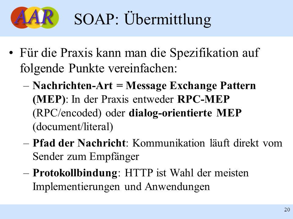 Franck Borel - UB-Freiburg 20 SOAP: Übermittlung Für die Praxis kann man die Spezifikation auf folgende Punkte vereinfachen: –Nachrichten-Art = Messag
