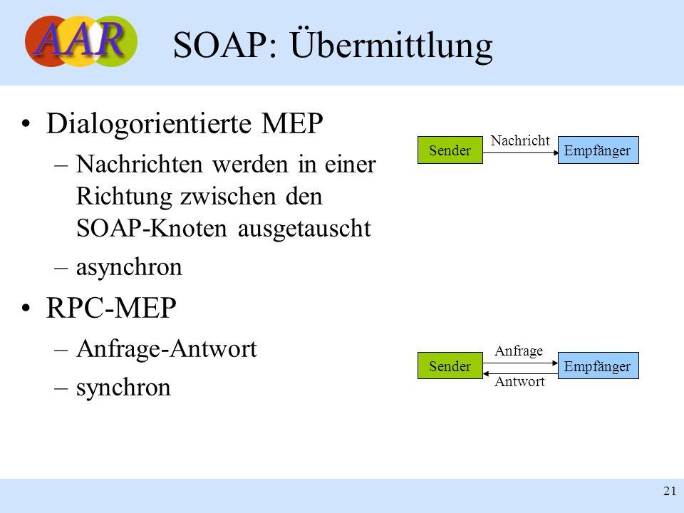 Franck Borel - UB-Freiburg 21 SOAP: Übermittlung Dialogorientierte MEP –Nachrichten werden in einer Richtung zwischen den SOAP-Knoten ausgetauscht –as