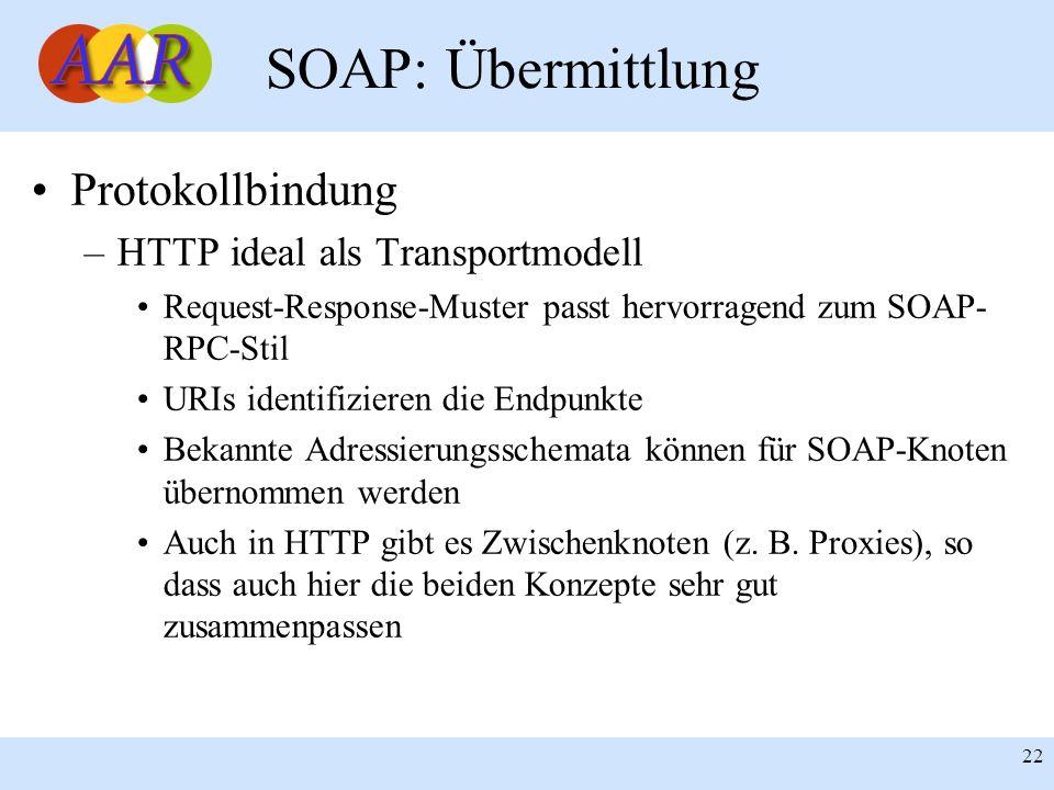 Franck Borel - UB-Freiburg 22 SOAP: Übermittlung Protokollbindung –HTTP ideal als Transportmodell Request-Response-Muster passt hervorragend zum SOAP- RPC-Stil URIs identifizieren die Endpunkte Bekannte Adressierungsschemata können für SOAP-Knoten übernommen werden Auch in HTTP gibt es Zwischenknoten (z.
