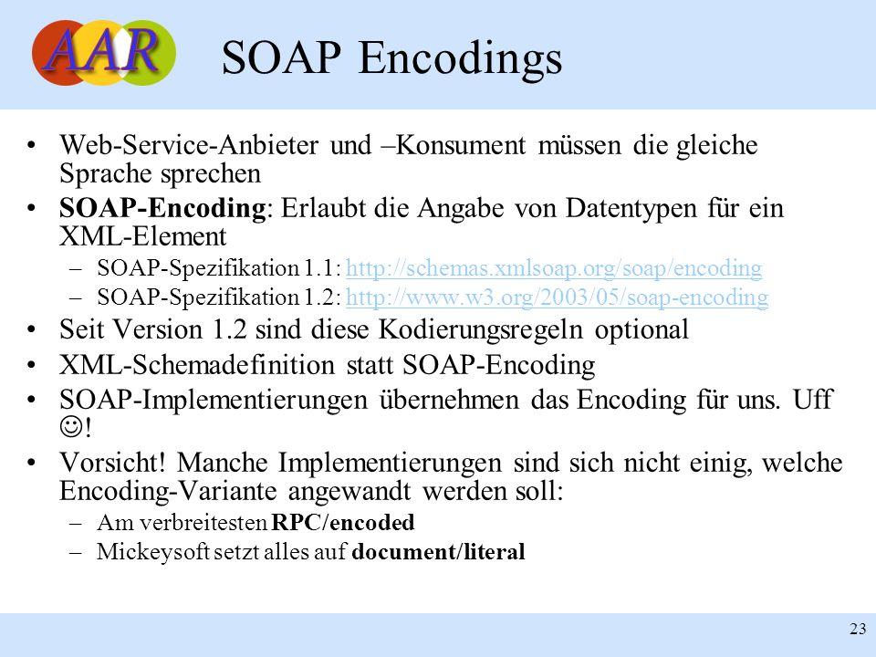 Franck Borel - UB-Freiburg 23 SOAP Encodings Web-Service-Anbieter und –Konsument müssen die gleiche Sprache sprechen SOAP-Encoding: Erlaubt die Angabe