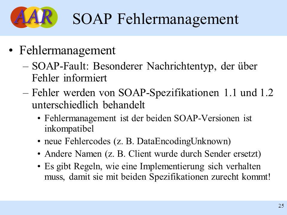 Franck Borel - UB-Freiburg 25 SOAP Fehlermanagement Fehlermanagement –SOAP-Fault: Besonderer Nachrichtentyp, der über Fehler informiert –Fehler werden