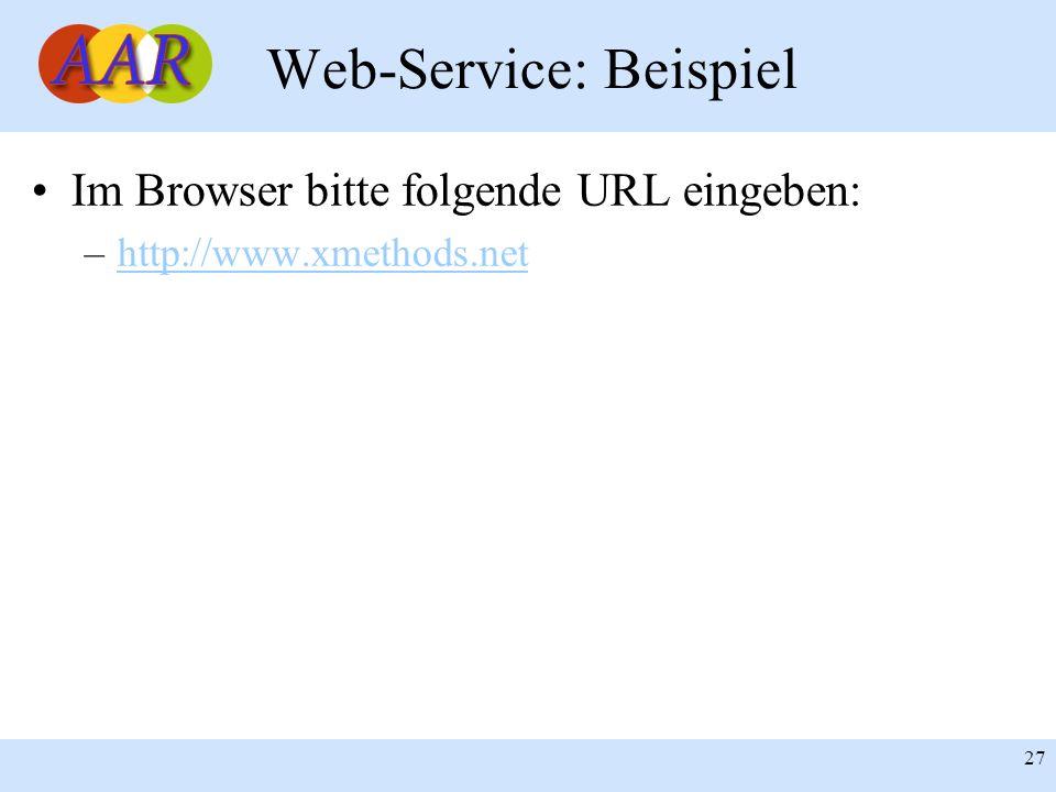 Franck Borel - UB-Freiburg 27 Web-Service: Beispiel Im Browser bitte folgende URL eingeben: –http://www.xmethods.nethttp://www.xmethods.net