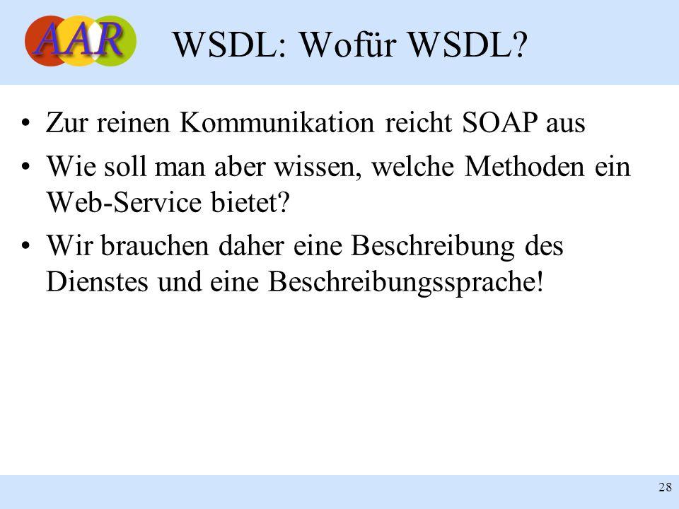 Franck Borel - UB-Freiburg 28 WSDL: Wofür WSDL? Zur reinen Kommunikation reicht SOAP aus Wie soll man aber wissen, welche Methoden ein Web-Service bie