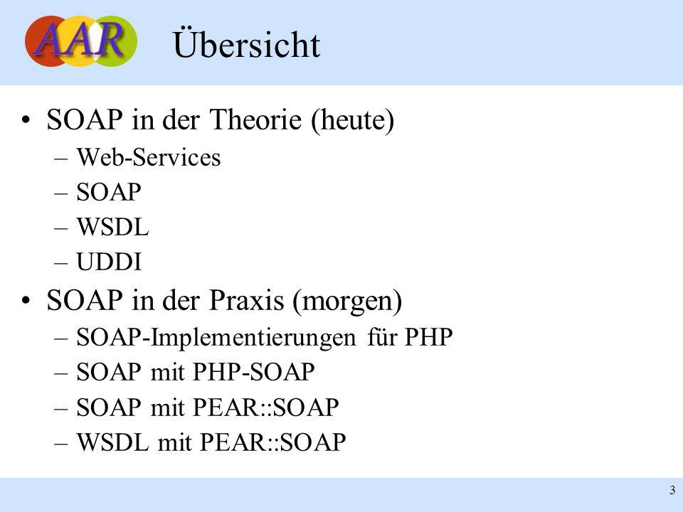 Franck Borel - UB-Freiburg 3 Übersicht SOAP in der Theorie (heute) –Web-Services –SOAP –WSDL –UDDI SOAP in der Praxis (morgen) –SOAP-Implementierungen