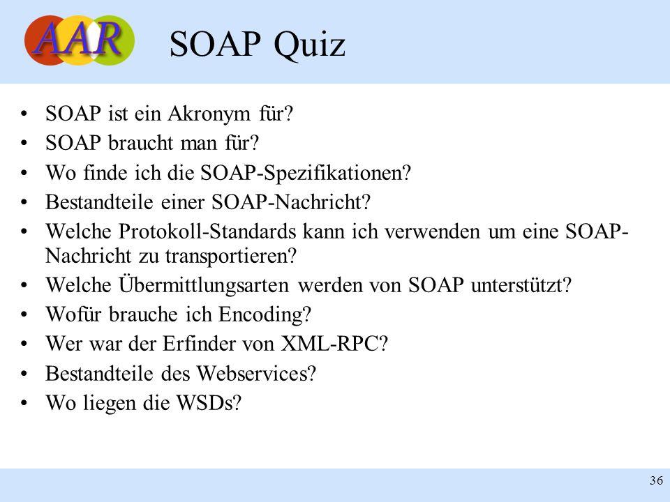 Franck Borel - UB-Freiburg 36 SOAP Quiz SOAP ist ein Akronym für? SOAP braucht man für? Wo finde ich die SOAP-Spezifikationen? Bestandteile einer SOAP