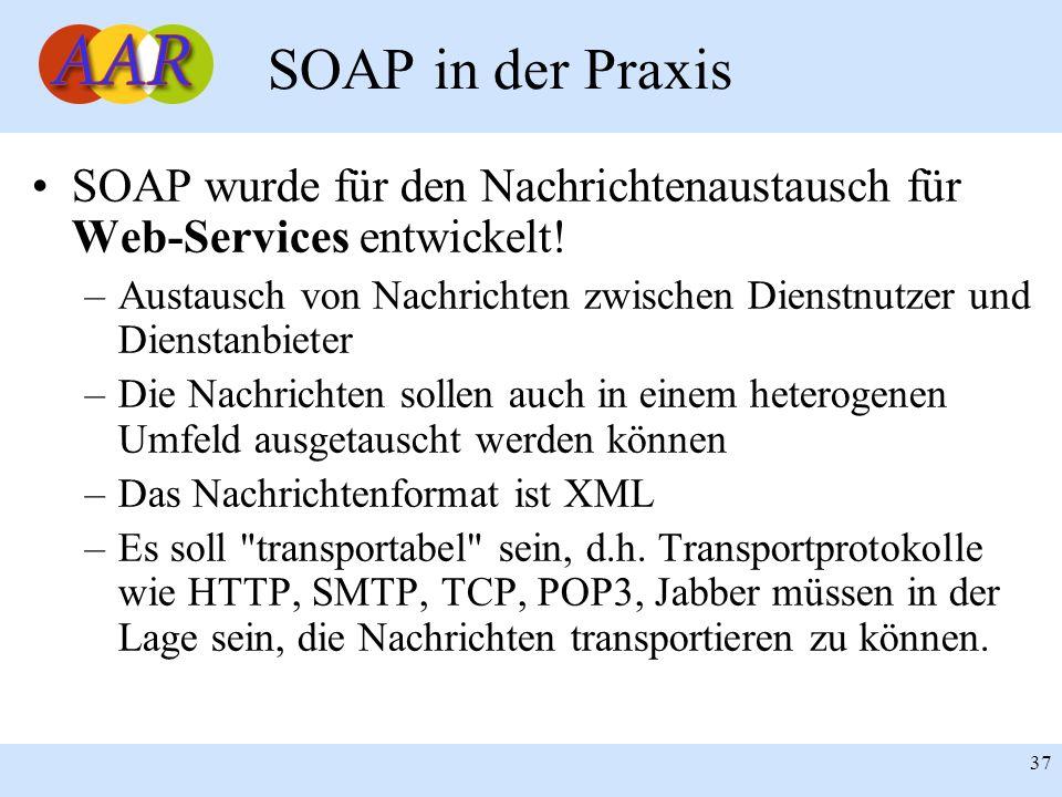 Franck Borel - UB-Freiburg 37 SOAP in der Praxis SOAP wurde für den Nachrichtenaustausch für Web-Services entwickelt! –Austausch von Nachrichten zwisc