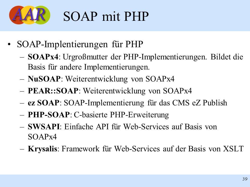 Franck Borel - UB-Freiburg 39 SOAP mit PHP SOAP-Implentierungen für PHP –SOAPx4: Urgroßmutter der PHP-Implementierungen. Bildet die Basis für andere I